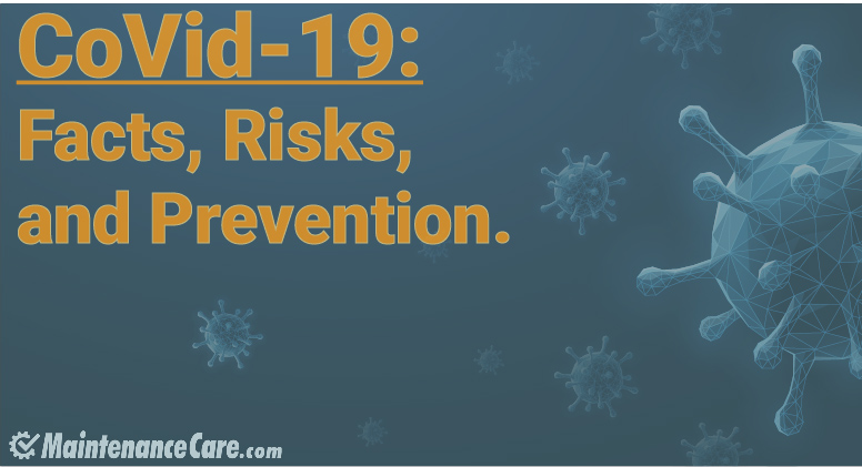 "Visualization of viruses with text ""CoVid-19: Facts, Risks, and Prevention."""