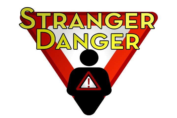 "Illustration of CMMS Visitor Access Tracking in Health Care reading ""Stranger Danger"""